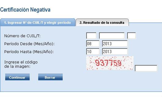 Certificación Negativa - ANSES